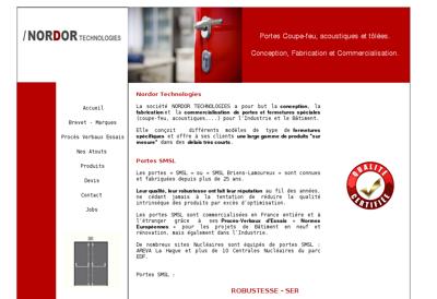 Capture d'écran du site de Nordor Technologies