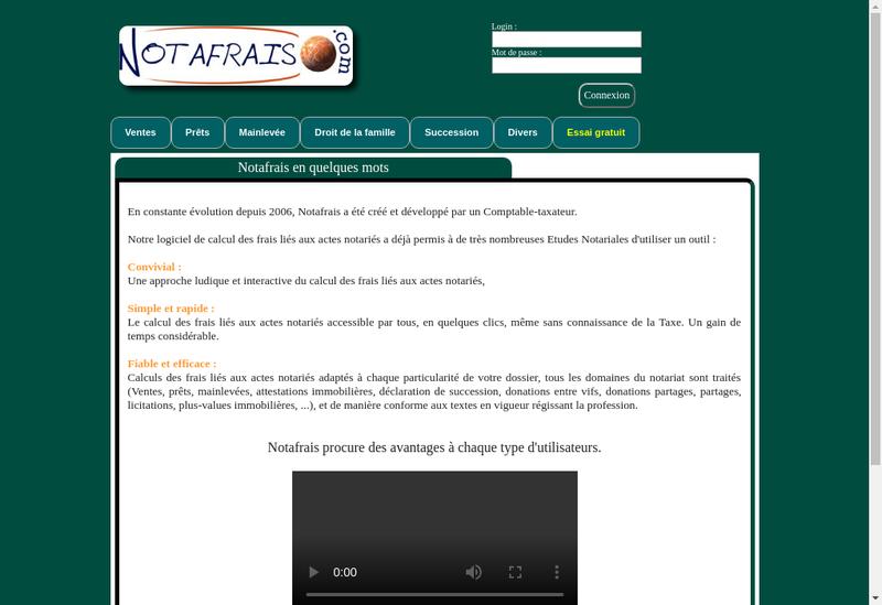 Capture d'écran du site de Notafrais