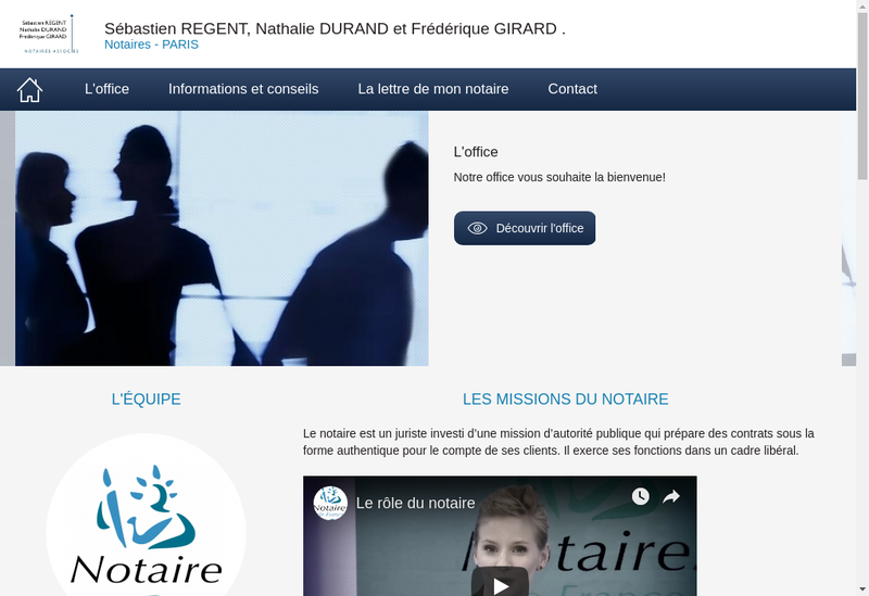 Capture d'écran du site de Regent Durand Girard Notaires Assoc