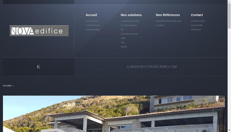 Capture d'écran du site de Nova Edifice