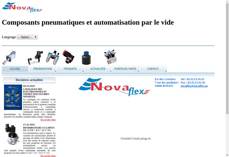 Capture d'écran du site de Novaflex
