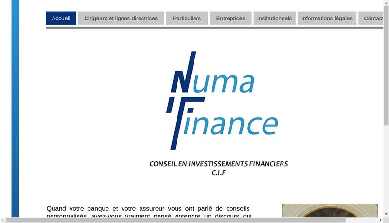 Capture d'écran du site de Numa Finance