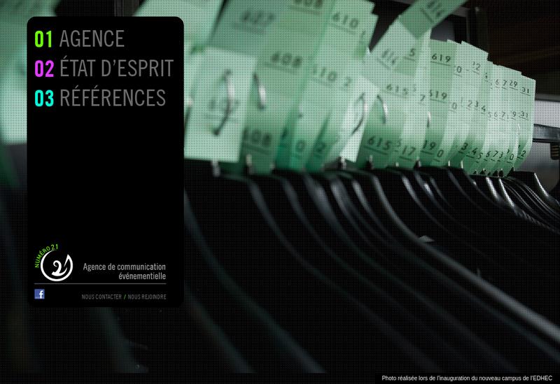 Capture d'écran du site de Numero 21