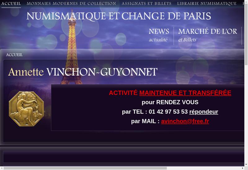 Capture d'écran du site de Numismatique et Change de Paris