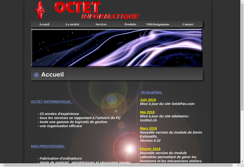 Capture d'écran du site de Octet Informatique