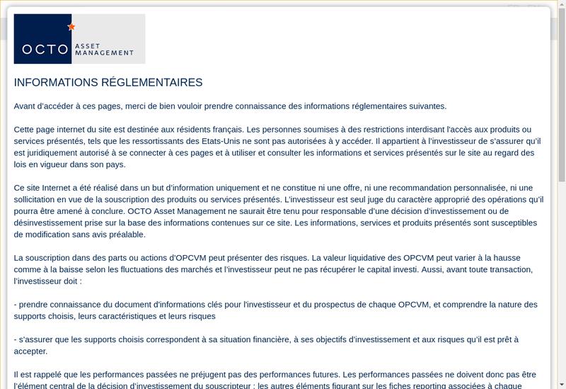Capture d'écran du site de Octo Asset Management