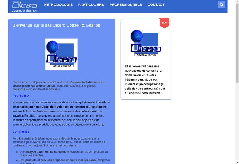 Capture d'écran du site de Olcero Conseil et Gestion