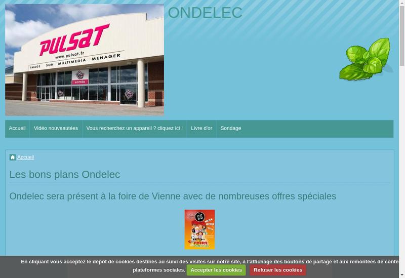 Capture d'écran du site de Ades Electromenager