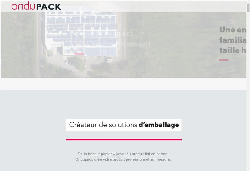 Capture d'écran du site de Ondupack