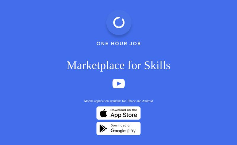 Capture d'écran du site de One Hour Job