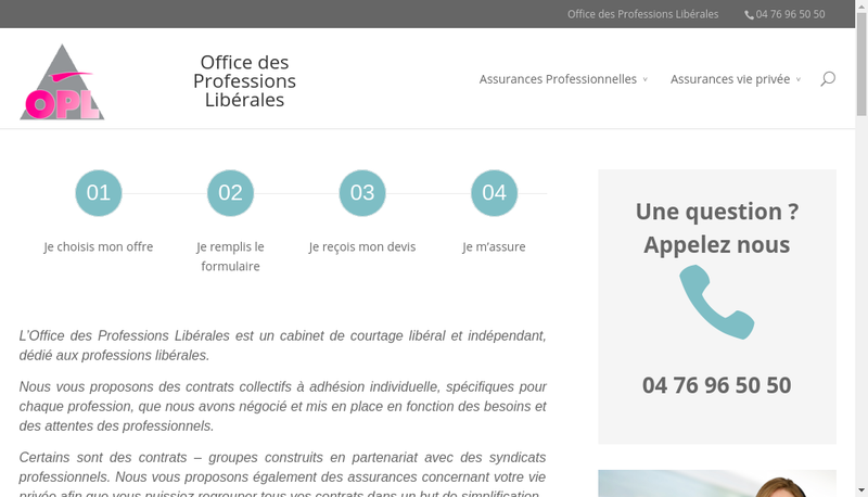 Capture d'écran du site de Office des Professions Liberales