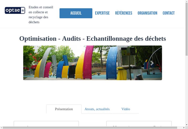Capture d'écran du site de Optae