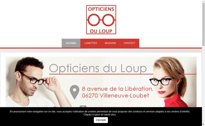 Capture d'écran du site de Opticiens du Loup
