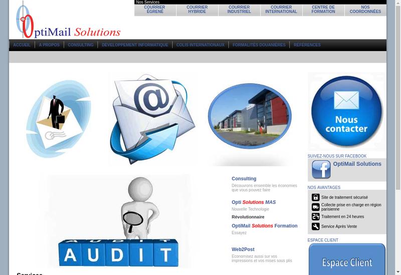 Capture d'écran du site de Optimail Solutions