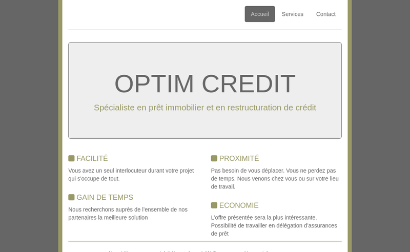 Capture d'écran du site de Optim Credit