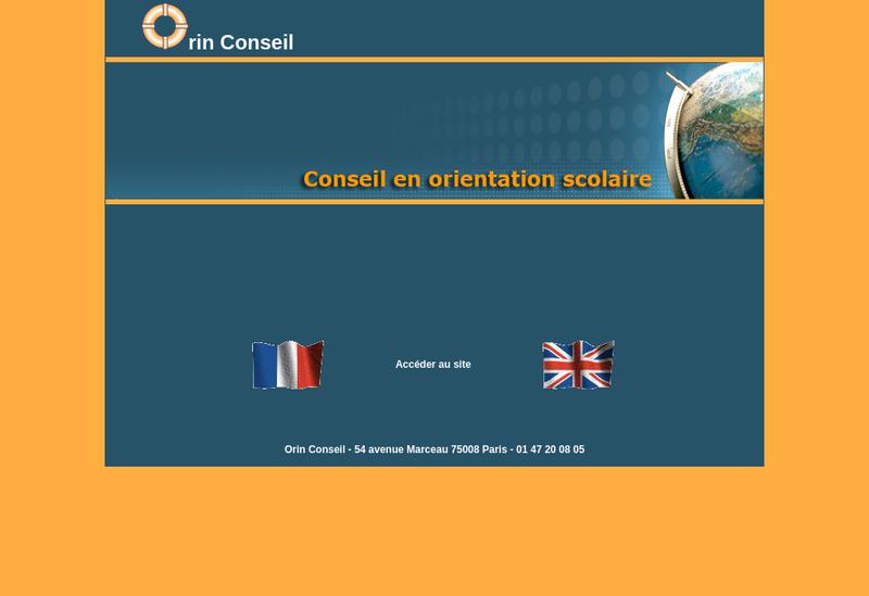 Capture d'écran du site de Orin Conseil