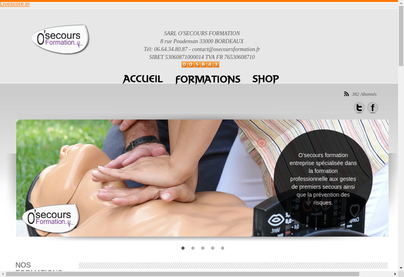 Capture d'écran du site de O Secours Formation
