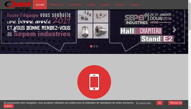Capture d'écran du site de Ouest Decolletage