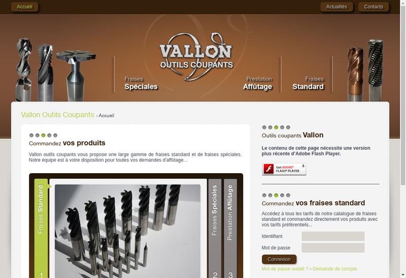 Capture d'écran du site de Vallon Outils Coupants