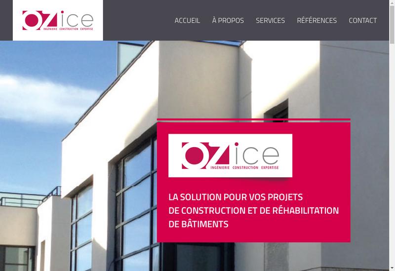 Capture d'écran du site de Ozice
