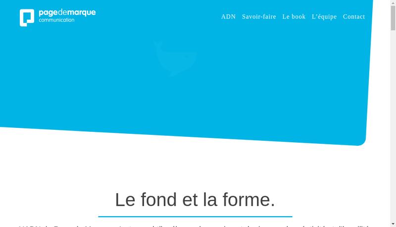 Capture d'écran du site de Page de Marque