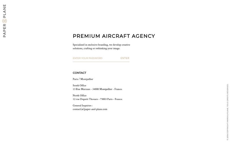 Capture d'écran du site de Paper & Plane