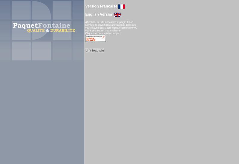 Capture d'écran du site de Paquet Fontaine