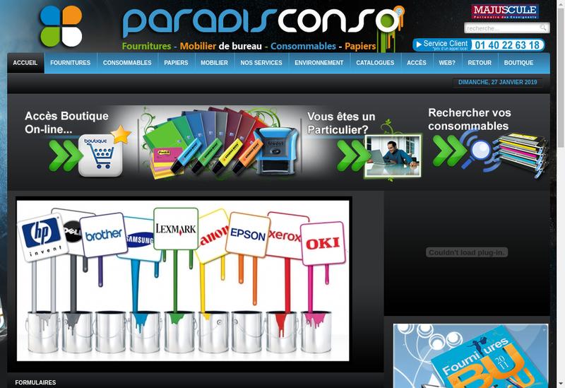 Capture d'écran du site de Paradis Conso SARL