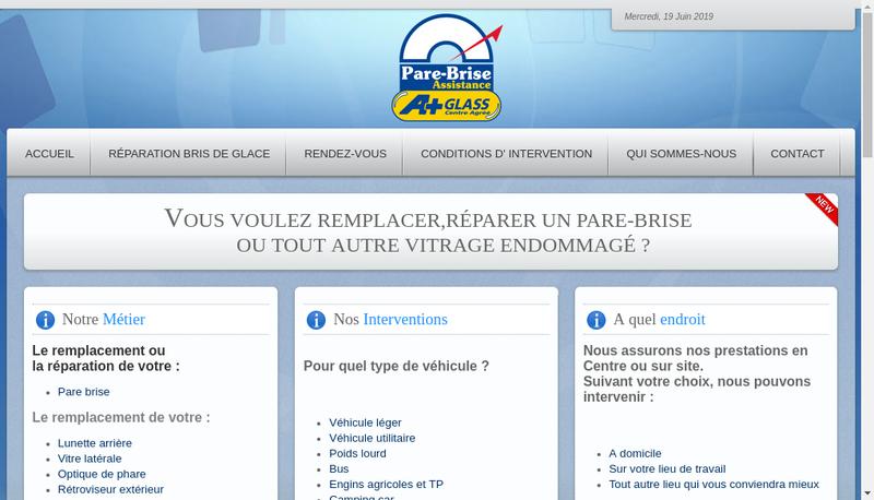 Capture d'écran du site de SAS Pare Brise Assistance