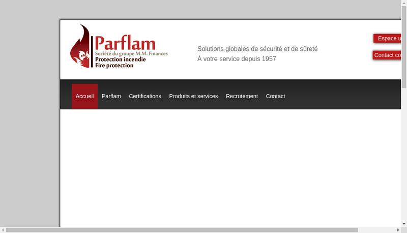 Capture d'écran du site de Parflam SA