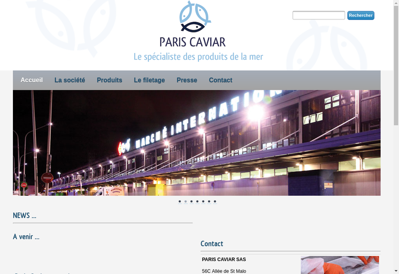 Capture d'écran du site de Paris Caviar