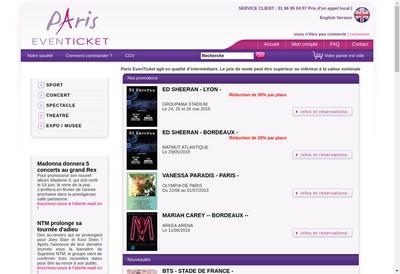 Site internet de Paris Eventicket
