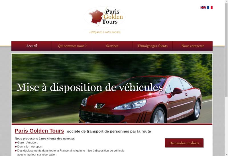 Capture d'écran du site de Paris Golden Tours