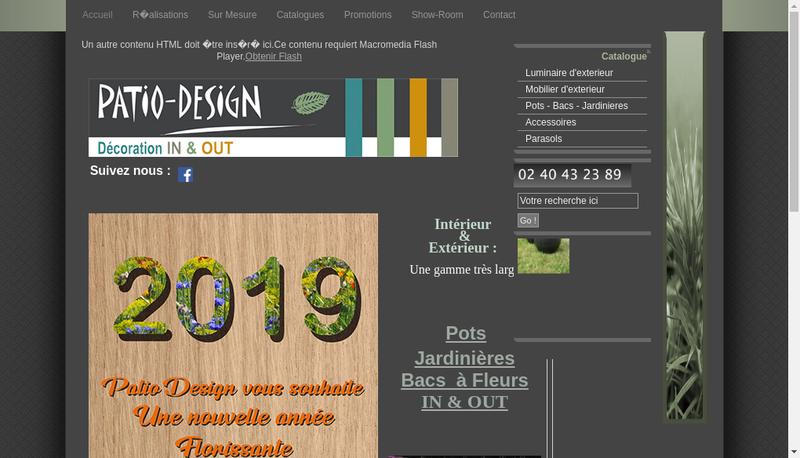 Capture d'écran du site de Patio Design