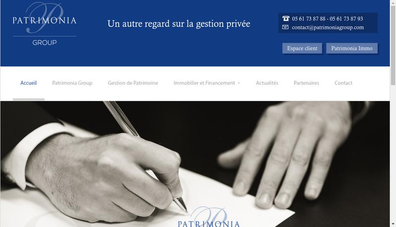 Capture d'écran du site de Patrimonia Invest