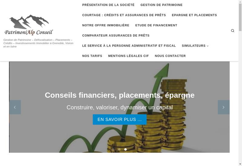 Capture d'écran du site de Patrimonialp Conseil
