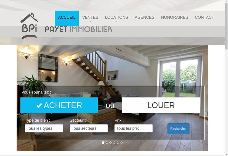 Capture d'écran du site de EURL Payet Immobilier
