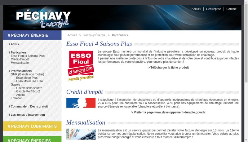Capture d'écran du site de Pechavy Energie