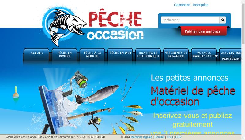 Capture d'écran du site de EURL Peche Occasion