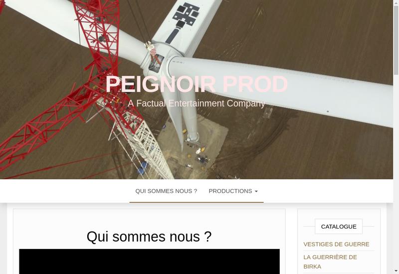 Capture d'écran du site de Peignoir Prod