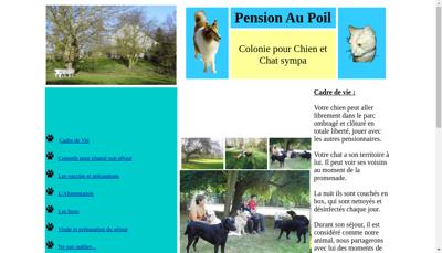 Capture d'écran du site de Au Poil