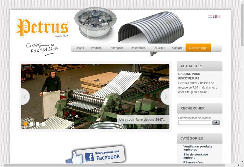Capture d'écran du site de Petrus SA