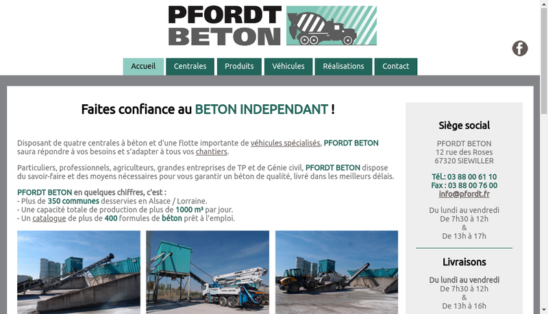 Capture d'écran du site de Pfordt Beton