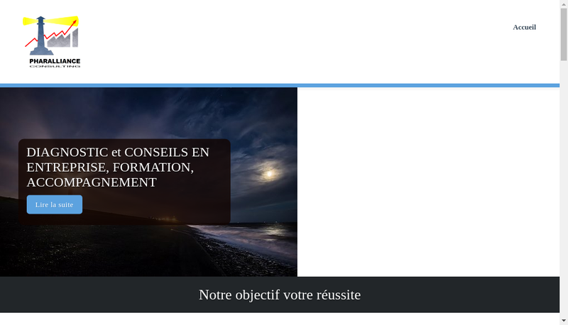 Capture d'écran du site de Pharalliance Consulting