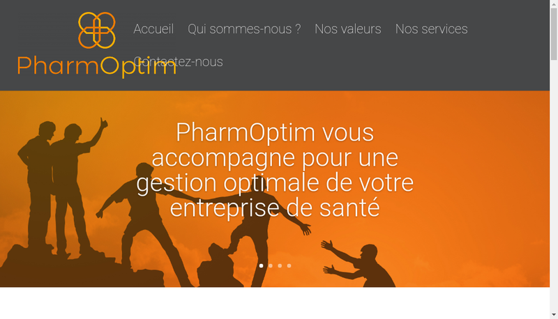 Capture d'écran du site de Pharmoptim