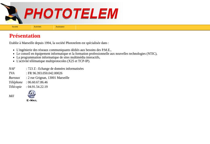 Capture d'écran du site de Phototelem
