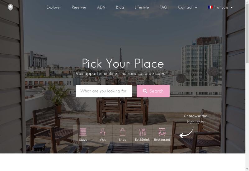 Capture d'écran du site de Pick Your Place