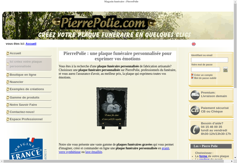Capture d'écran du site de Pierrepolie Com