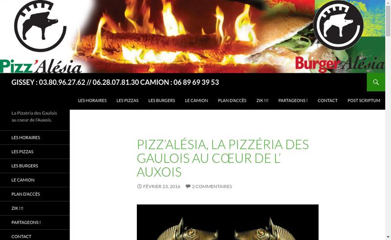 Capture d'écran du site de Pizz'Alesia