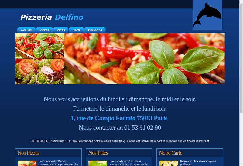 Capture d'écran du site de Delfino